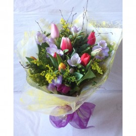 Freesia and Tulip Hand Tied