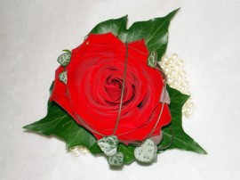 Single Rose and Ivy Prom Corsage